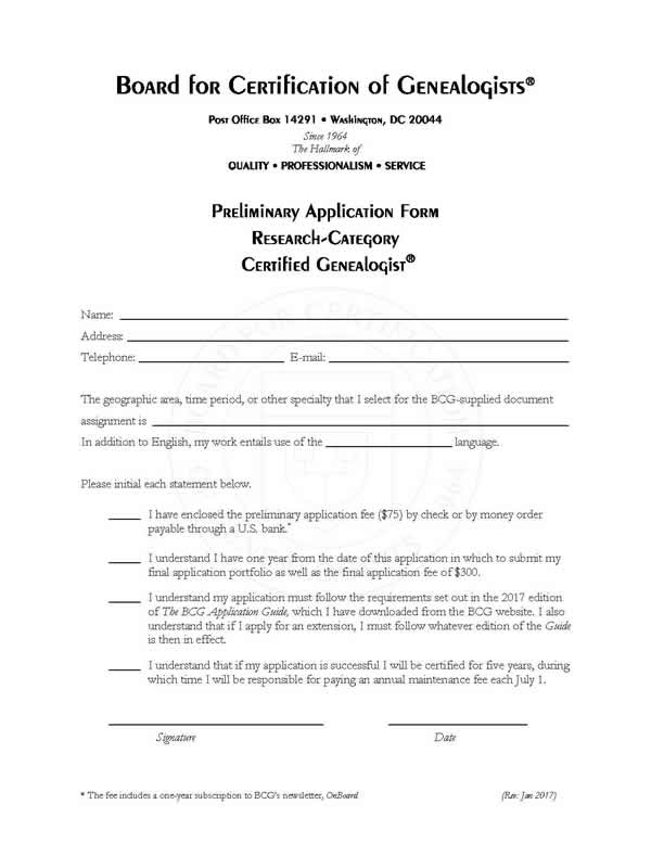 Preliminary Application Fee – Board for Certification of Genealogists